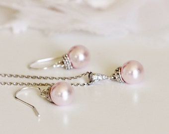 Flower Girl Gift, Will You Be My Flower Girl Jewelry Junior Bridesmaid Gift Pink Pearl Earrings and Necklace Set S120