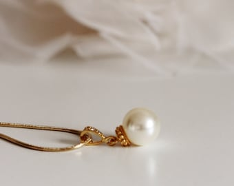 Single Pearl Necklace,Gold Wedding Necklace,Ivory Pearl Necklace N102