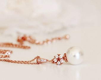 Rose Gold Crystal Flower and Pearl Necklace,Rose Gold Bridal Necklace, Bridesmaid Gift N106