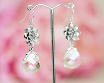 Lotus Flower with Swarovski Crystal Drop Earrings, Romantic Wedding Gift Bridesmaid Earrings E137