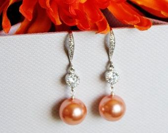 Burnt Orange Earrings, Orange Pearl Earrings, Autumn Wedding Bridesmaid Earrings, Swarovski Pearl Drop Earrings, Fall Wedding Gift E105