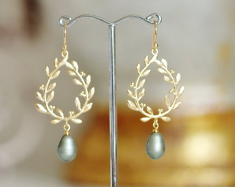 Gold Laurel Wreath with Sage Green Pearl Earrings,Olive Green Boho Wedding Bridesmaid Jewelry E141