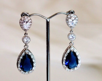 Sapphire Blue Wedding Jewelry Blue Bridal Earrings Royal blue Wedding Earrings Long Bridal Earrings Something Blue Bridal Jewelry September