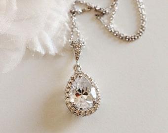 Crystal Bridal Necklace,Silver Teardrop CZ Necklace,Wedding Bridesmaid gift N107