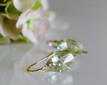 Peridot Earrings Gold Filled Green Swarovski Crystal Earrings August Birthstone Minimalist Earrings E211