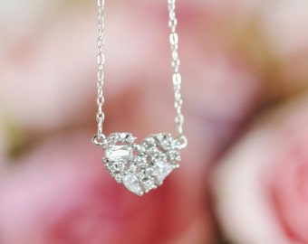Cluster Crystal Heart Sterling Silver Necklace, Birthday Gift For Mom, Daughter, Mother Gift, Wedding Gift For Bridesmaids N109