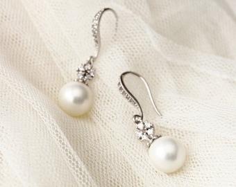 Bridal Earrings, Drop Pearl Earrings, Wedding Jewelry, Bridesmaid Earrings, Crystal Pearl Bridal Jewelry Bridesmaid Gifts E103 Jessica