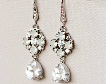 Art Deco Crystal Bridal Earrings Swarovski White Opal Crystal Drop Earrings E146