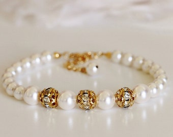 Swarovski Pearl and Crystal Bracelet, Gold Wedding Bracelet, Bridesmaid Gift Pearl Bridal Bracelet B107