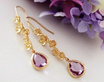 Lavender Purple Crystal Drop Earrings, Jacaranda Flower Earrings, Australia Spring Wedding Bridesmaid Gift E303