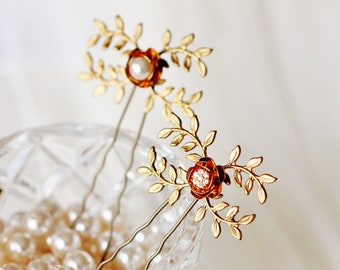 Gold Leaf Hair Pins, Crystal or Pearl Gold Flower Hair Pins, Fall Wedding Bridal Hair Accessories H101