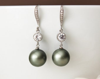 Sage Green Pearl Drop Earrings Spring Country Wedding Bridesmaid Gift Earrings  E105