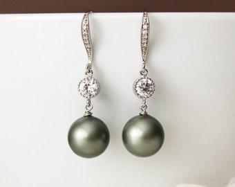 Sage Green Pearl Drop Earrings Spring Country Wedding Bridesmaid Gift Earrings  E105