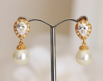 Gold Wedding Earrings, Bridal Pearl Earrings, Lux Teardrop Crystal Post Earrings, E104