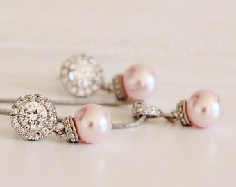 Blush Pink Pearl Wedding Jewelry, Blush Pink Pearl Earrings Pearl Necklace Set E102