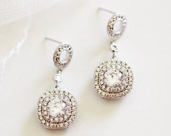Crystal Bridal Earrings Princess Wedding Earrings Crystal Princess Bride Earrings Drop Earrings Halo Earrings Bridal Jewelry