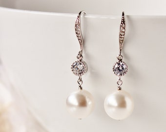 Pearl Bridal Earrings Pearl Drop Earrings Wedding Earrings Bridesmaid Earrings White Ivory Swarovski Pearl Earrings Bridesmaid Gift Jewelry