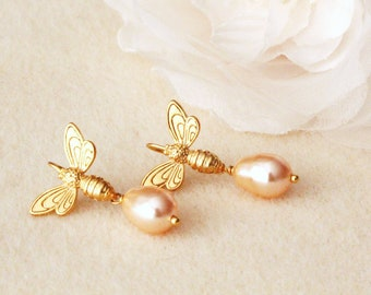 Gold Honey Bee Earrings with Swarovski Pearl Drop Earrings,Gift For Teen Daughter Girlfriend Bee lovers E306
