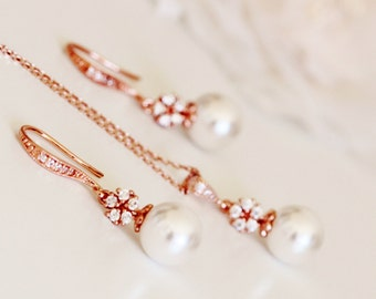 Rose Gold Wedding Jewelry Set,Pearl and Crystal Flower Bridal Jewelry Set,Spring Wedding Bridesmaid Gift S111