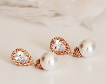Rose Gold Bridal Pearl Earrings, Swarovski Pearl Earrings Necklace, Bridesmaid Jewelry Rose Gold Wedding Gift Set For Bridesmaids E108