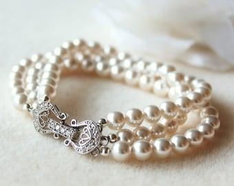 Pearl Bridal Bracelet,Pearl Wedding Bracelet,Three Strand Swarovski Crystal Pearl Bracelet B102