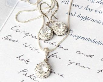 Wedding Jewellery Set,Bridesmaid Jewelry,Silver Teardrop Cubic Zirconia Necklace and Earrings Set S109