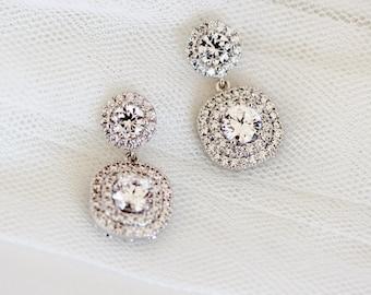 Bridal Earrings,Crystal Wedding Earrings,Princess Wedding Jewelry Round Square Halo Post Earrings E117