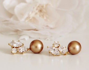 Gold Bridal Earrings, Vintage Gold Pearl Earrings, Mother of the Bride Gift, Mother of the Groom Gift, Wedding Gift for Mom E101