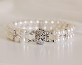 Bridal Cuff Bracelet, Vintage Style Dainty Two Strand Swarovski Pearl with Rhinestone Wedding Bracelet, B103