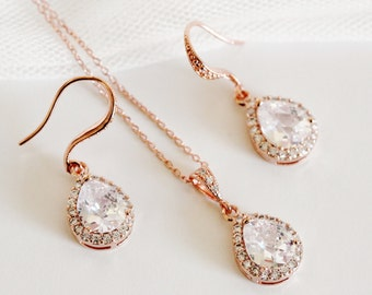 Rose Gold Bridal Jewelry Set, Teardrop Crystal Wedding Jewelry Set, Rose Gold Wedding Gifts S109