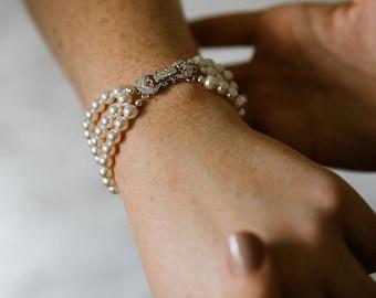 Pearl Bridal Bracelet, Three Strand Bridal Cuff Bracelet, Swarovski Pearl and Crystal Bridal Bracelet B102