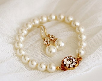 Pearl Bridal Earrings and Bracelet Set, Vintage Style Bridal Pearl Earrings Pearl Bridal Braclet Swarovski Pearl Brial Jewelry Set S112