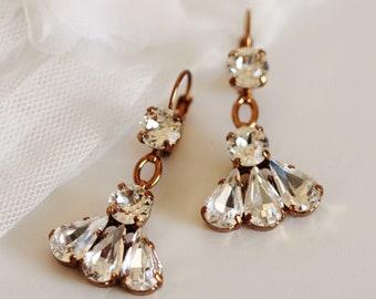 Fan Shaped Swarovski Crystal Earrings, Art Deco Statement Bridal Earrings, Bronze or Silver Lever Back Earrings E204