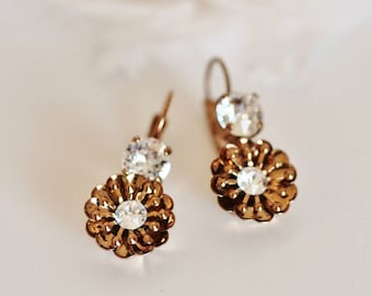 Vintage Gold Flower With Swarovski Crystal Lever- back Earrings,Romantic Wedding Earrings E205