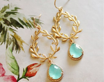 Mint Green Earrings, Gold Mint Drop Earrings, Mint To Be Bridal Shower Bridesmaid Gift, Beach Wedding Jewelry, Bridesmaid Jewelry, E150