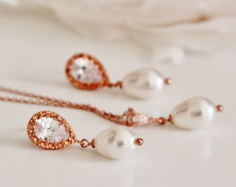 Rose Gold Wedding Jewelry Set, Teardrop Swarovski Pearl Earrings and Necklace Set, Rose Gold Bridal Jewelry Set, Bridesmaid Jewelry S106