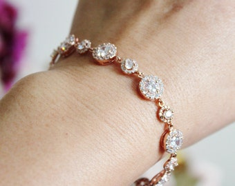 Rose Gold Bridal Bracelet, Dainty Rose Gold Wedding Bracelet, Delicate Round Halo Cubic Zirconia Rose Gold Bracelet, Bridal Jewelry B106