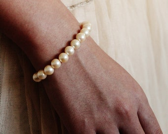 Classic Pearl Bracelet, Bridesmaid Bracelet, Pearl Wedding Bracelet, Handmade Jewelry Pearl Earrings Necklace Bracelet Bridesmaid Gift Set