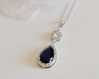 Sapphire Necklace, Blue Wedding Necklace, September Birthstone Teardrop Pendant Something Blue Necklace Gift For Her N118