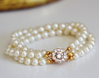 Wedding Bracelet For Bride, Gold Bridal Bracelet, Pearl Bracelet, Three Strand Swarovski Cream Pearl Bracelet, B121