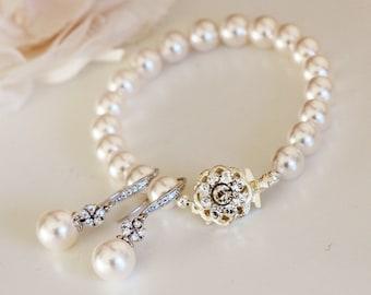Pearl Bridal Set, Bridal Earrings and Bracelet Set, Vintage Style Bridal Pearl Set, Swarovski Pearl Earrings Pearl Bracelet S112