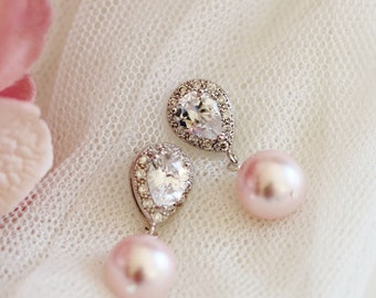 Blush Pink Wedding Earrings,Teardrop Crystal with Drop Pink Pearl Earrings,Pink Bridal Earrings E104