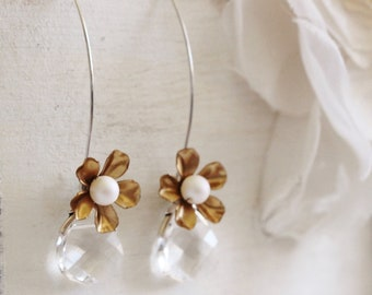 Romantic Bridesmaid Earrings Two Tone Silver and Gold Flower Swarovski Pearl and Crystal Long Dangle Earrings E206