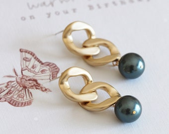 Gold Chunky Chain Earrings, Curb Link Earrings, Drop Dark Peacock Blue Swarovski Tahitian Pearl Earrings, Summer Jewelry E405 E211