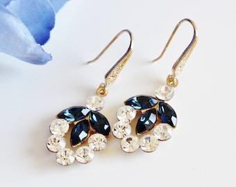 Navy Blue Bridal Earrings, Gold Leaf Earrings, Blue Wedding Earrings, Blue Bridesmaid Earrings Fall Wedding Jewelry Gifts E214