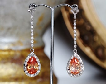 Fall Wedding Earrings, Champagne Earrings, Long Drop Bridal Earrings Dangle Earring Mother of the Bride Groom Gift, Formal Prom Jewelry E120