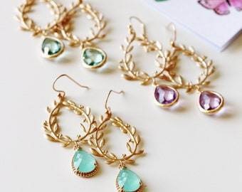 Gold Leaf Earrings, Gold Laurel Wreath Crystal Drop Earrings, Rustic Boho Wedding Jewelry, Bridesmaid Gifts Crystal Lavender Mint Green E141