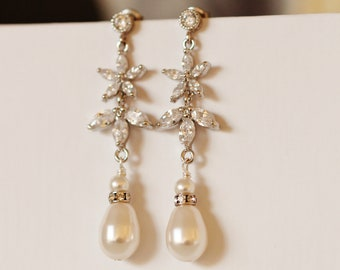 Crystal Flower and Leaf Drop Pearl Bridal Earrings,Fall Wedding Earrings,Romantic Wedding Jewelry E148