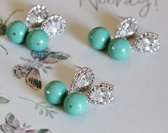 Turquoise Earrings, Turquoise Blue Swarovski Crystal or Pearl Dangle Drop Earrings Beach Wedding Party Bridesmaid Gifts E212