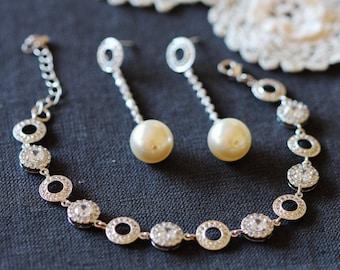 Large Pearl Bridal Earrings Dangle Earrings, Drop Pearl Earrings, Dainty Bridal Bracelet, Silver Halo Bridal Jewelry Set E109